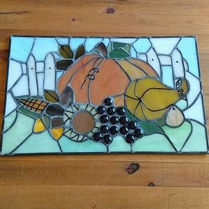 """Stained Glass Festive Scene 12 x 7.5"""" Gorgeous!"""